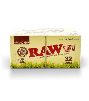 1 (1/4) SIZE ORGANIC HEMP 12 PACKS PER BOX | 32 CONES PER PACK | 384 CONES PER BOX BY RAW