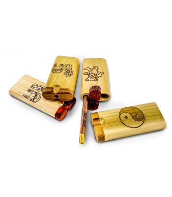 ENGRAVED WOODEN DUGOUT WITH ONE HITTER