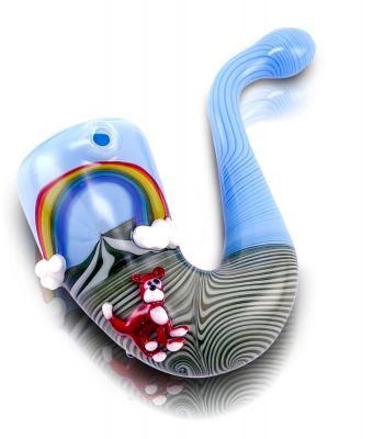 SUNSHINE DAY SHERLOCK WITH LINEWORK AND 3D DOG, DUCK, LLAMA, RAINBOW, CLOUDS BY JEM GLASS