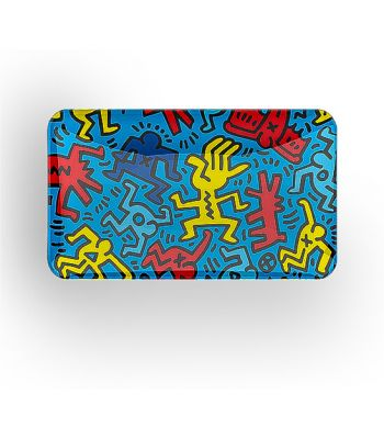 THICK GLASS TRAY WITH ICONIC KEITH HARING ARTWORK BY K. HARING