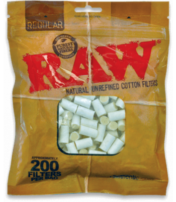 RAW COTTON FILTERS REGULAR PACK OF 200